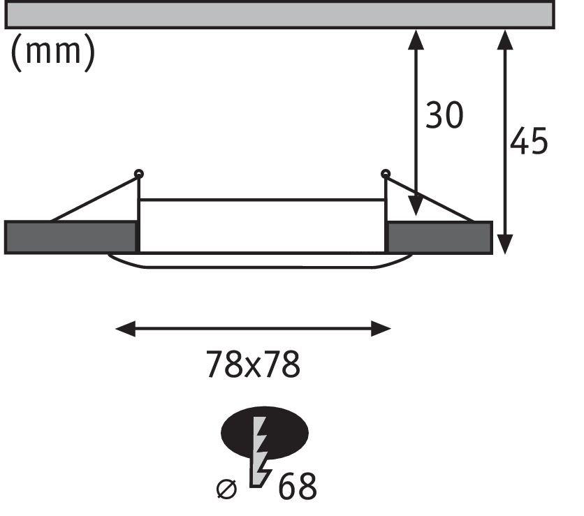 LED Einbauleuchte Nova Plus Coin Basisset starr IP44 eckig 78x78mm Coin 3x6,8W 3x425lm 230V 2700K Alu gedreht