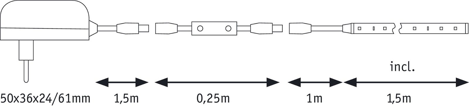 FlexLED LED Strip 3D 1,5m 5W 480lm 3000K 6VA