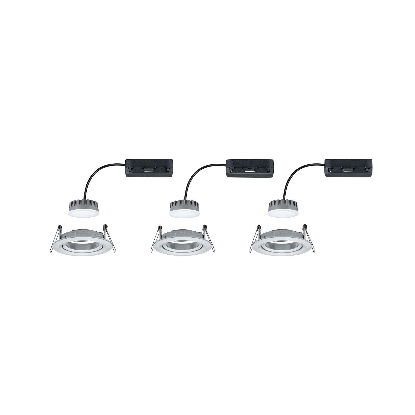 LED-inbouwlamp Nova Plus Coin Basisset zwenkbaar rond 84mm 50° Coin 3x6,8W 3x425lm 230V 2700K Alu gedraaid
