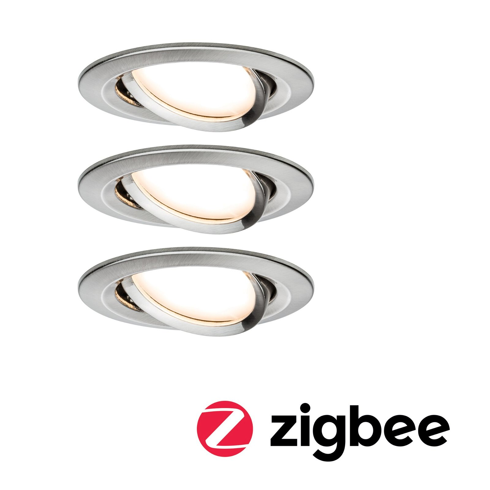 LED-inbouwlamp Smart Home Zigbee Nova Plus Coin Basisset zwenkbaar rond 84mm 50° Coin 3x6W 3x460lm 230V 2700K Staal geborsteld