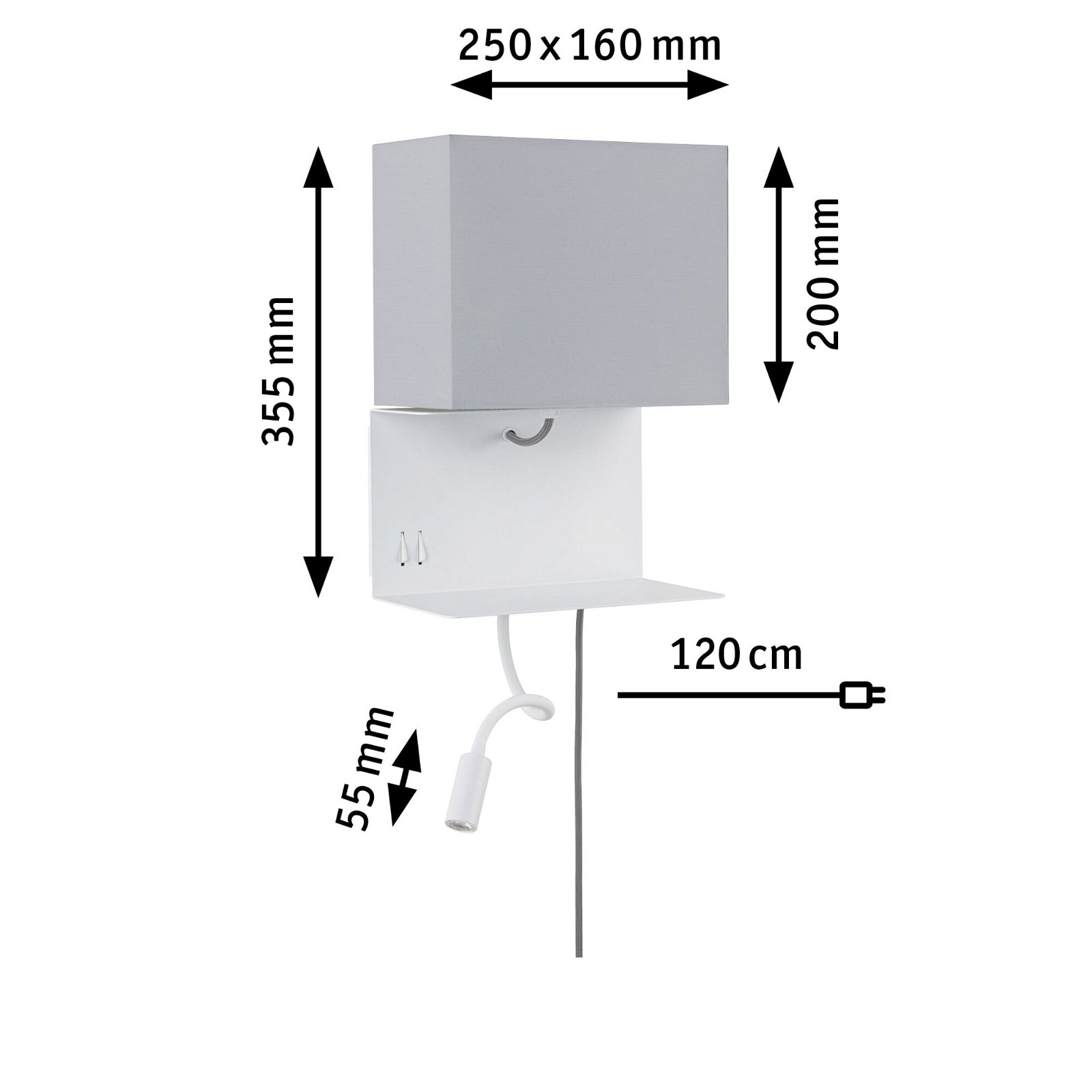 Wandleuchte mit Ablage Merani E27 3000K 140lm 230V 2,5W Grau/Weiß