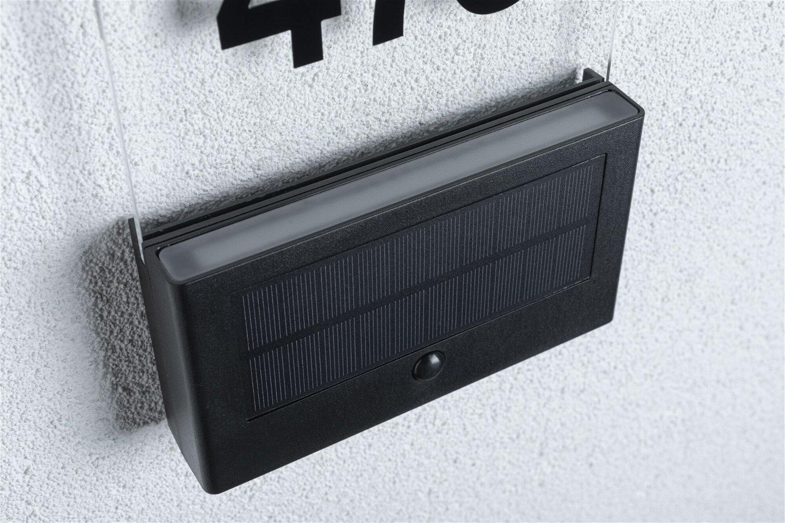 Solar LED Hausnummernleuchte Neda Bewegungsmelder IP44 3000K 80lm Anthrazit