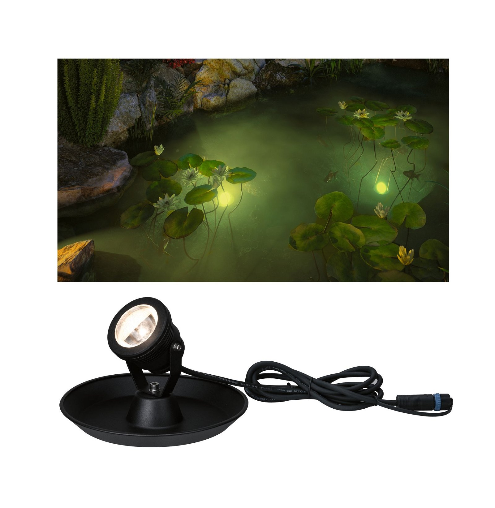 Plug & Shine Spot LED Luminaire de bassin IP68 3000K 4W Noir