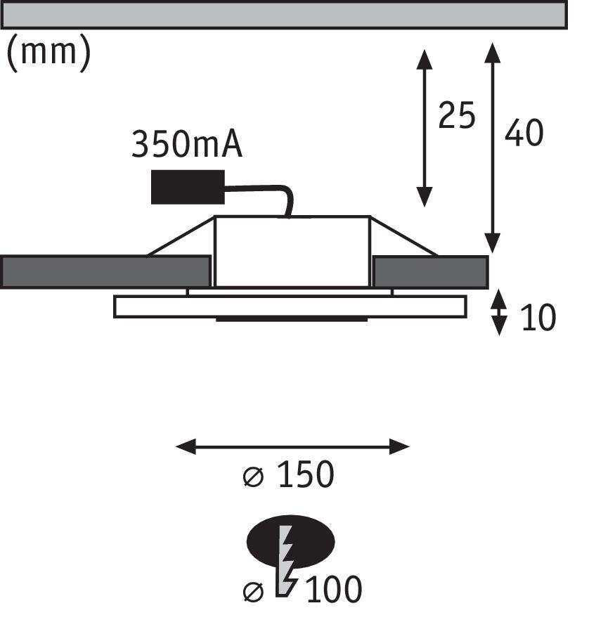Premium LED Einbauleuchte Whirl Einzelleuchte rund 150mm 6W 450lm 230V 3000K Alu gedreht/Satin