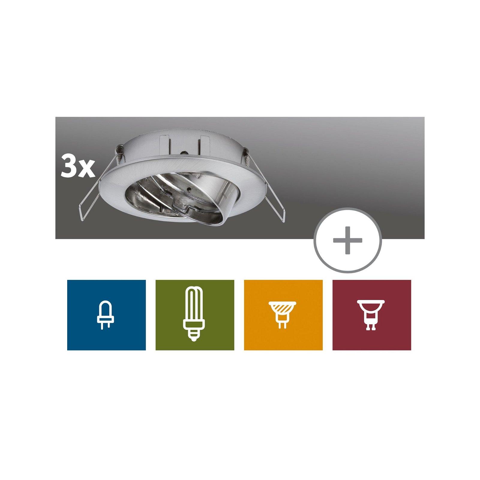 Premium LED-inbouwlamp Set van 3 zwenkbaar rond 83mm 30° max. 3x50W Staal geborsteld