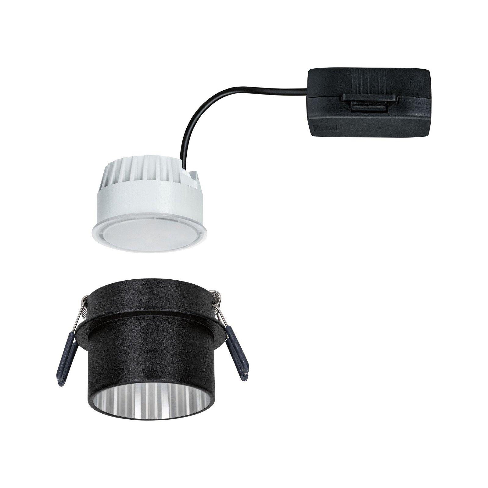 Spot encastré LED 3-Step-Dim Gil Coin IP44 rond 68mm Coin 6W 470lm 230V 2700K Noir mat/Acier brossé