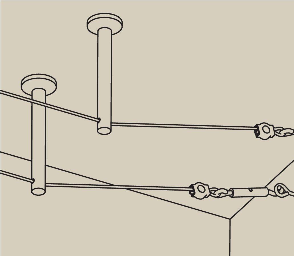 Seilsystem Montageset Umlenker/Abhängung Chrom