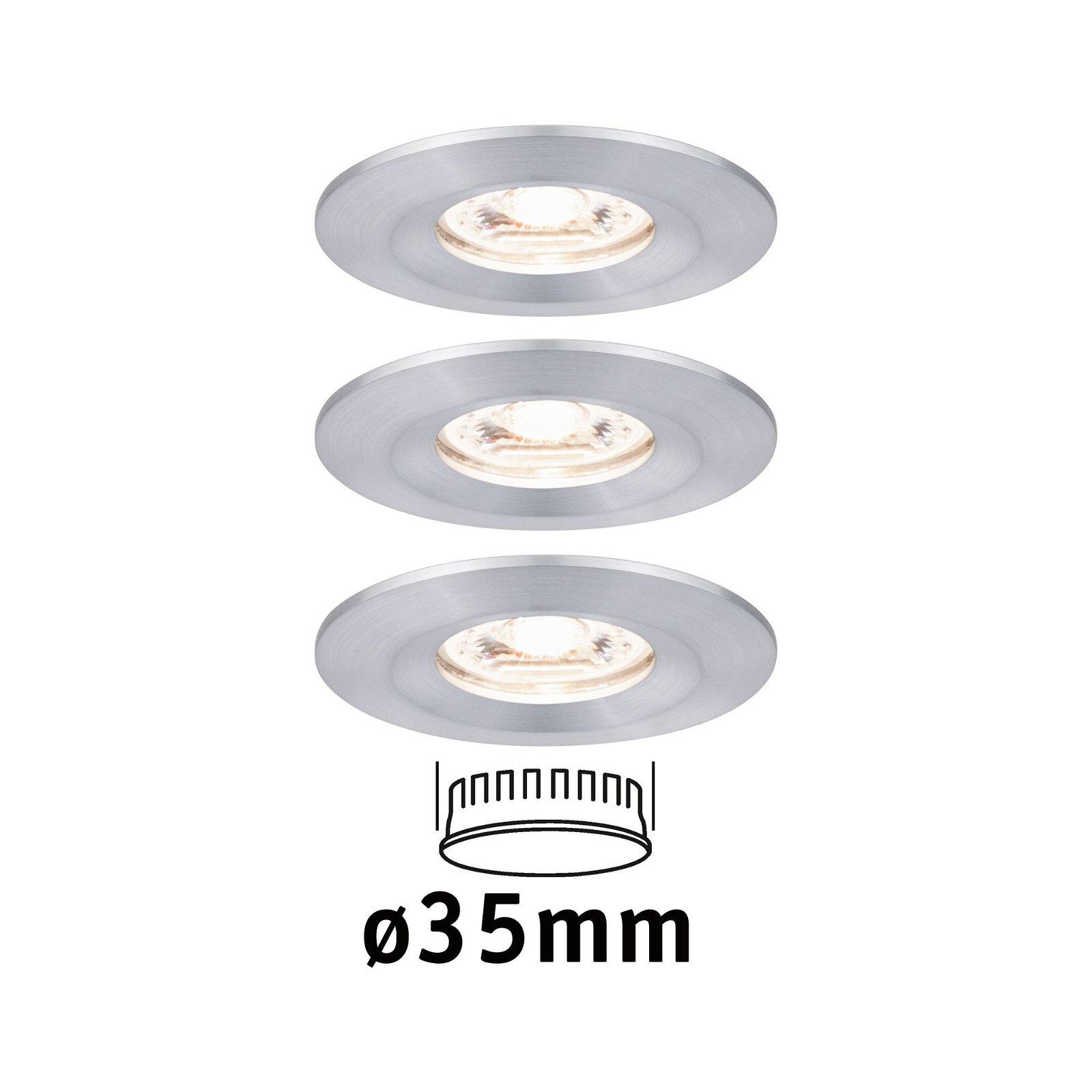 LED Einbauleuchte Nova Mini Coin Basisset starr IP44 rund 65mm Coin 3x4W 3x310lm 230V 2700K Alu gedreht
