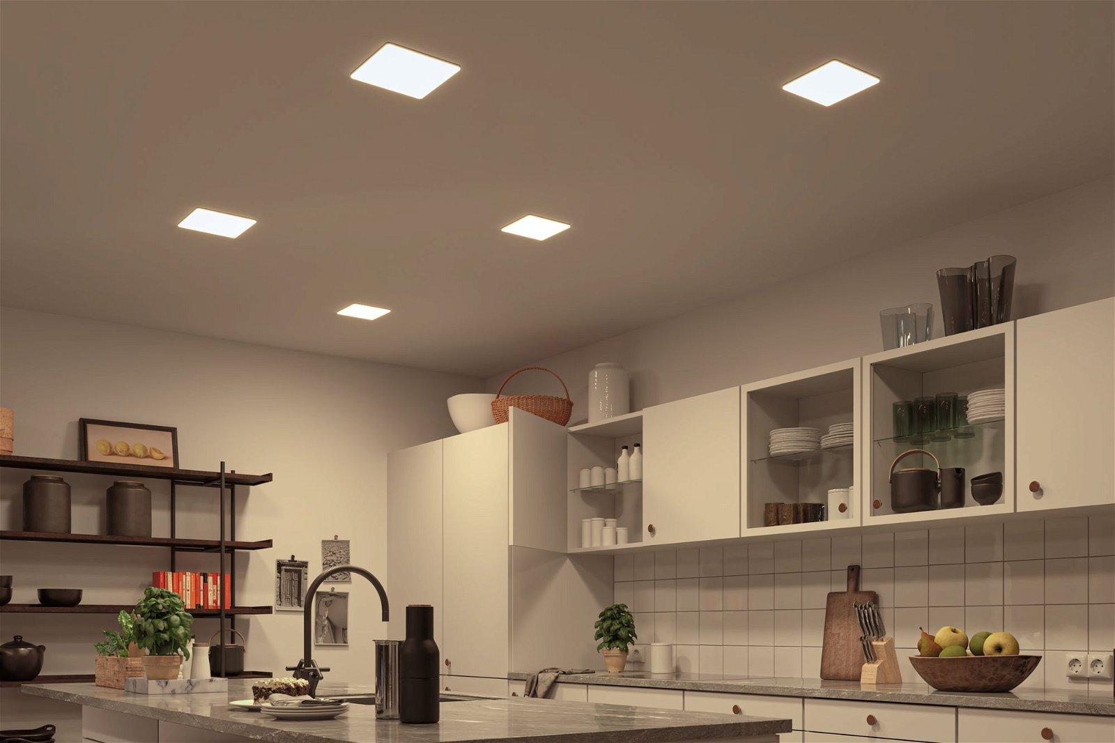 VariFit LED Einbaupanel Veluna IP44 IP44 eckig 215x215mm 1900lm White Switch Transparent