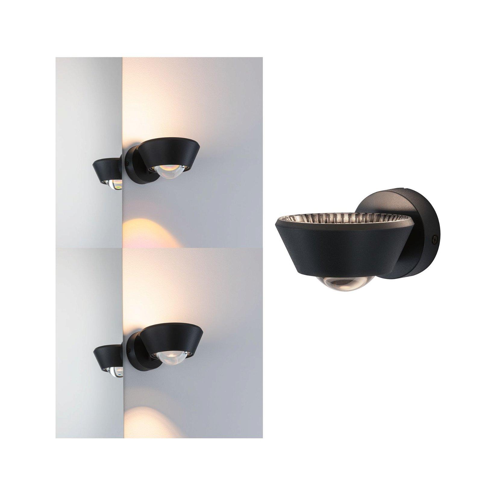LED Wandleuchte Sabik IP44 2700K 390lm 230V 9 / 1x4W Schwarz
