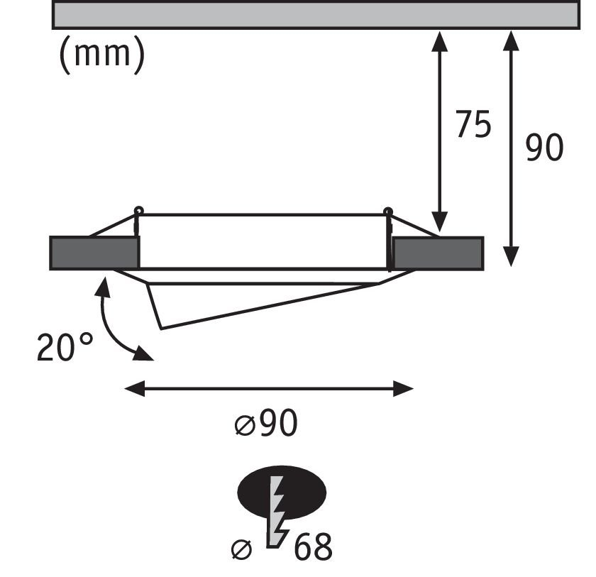 Inbouwlampen Base Basisset zwenkbaar rond 90mm 20° GU10 max. 10W 230V Staal geborsteld