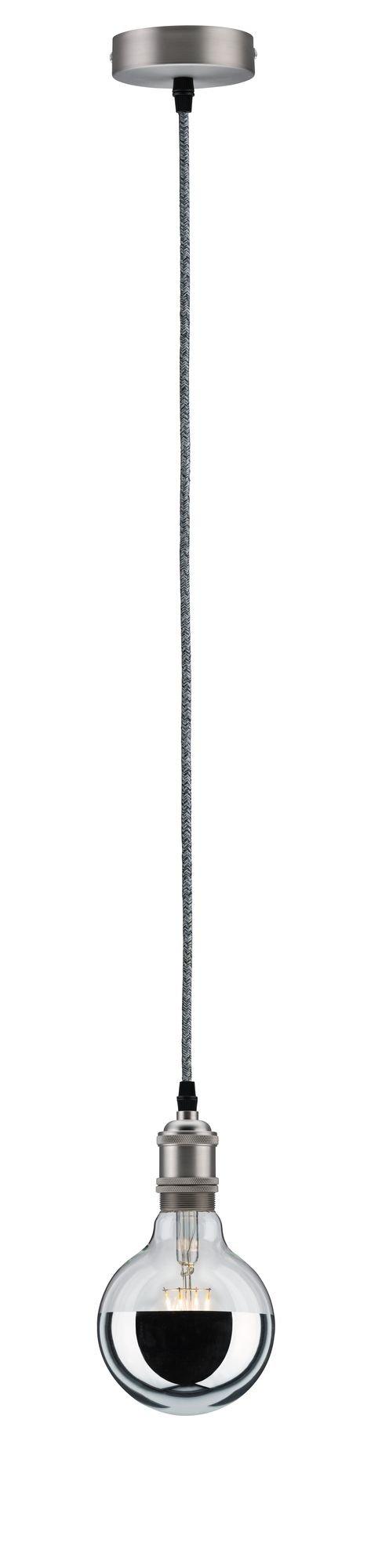 Pendelfassung Stoffkabel E27 max. 60W Grau/Nickel gebürstet