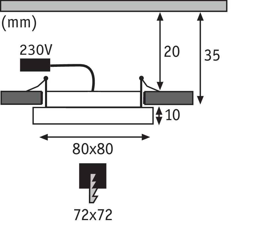 LED Einbaupanel Areo eckig 80x80mm 615lm 3000K Nickel matt