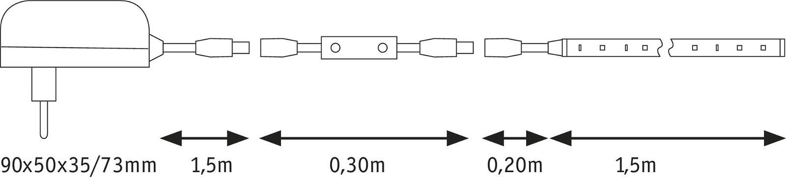 SimpLED Power LED Strip Warmweiß 1,5m beschichtet 17W 1650lm 3000K 24VA