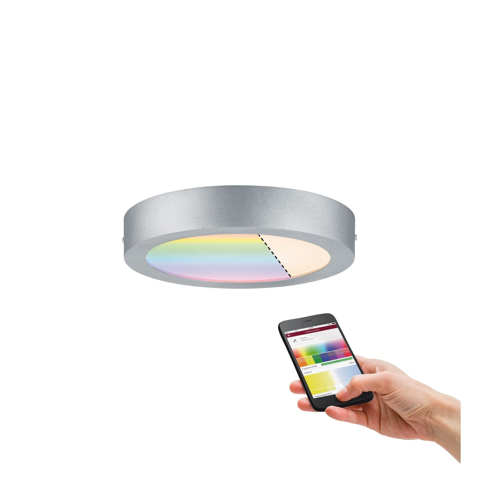 LED Panel Smart Home Zigbee Cesena rund 225mm 790lm RGBW Chrom matt