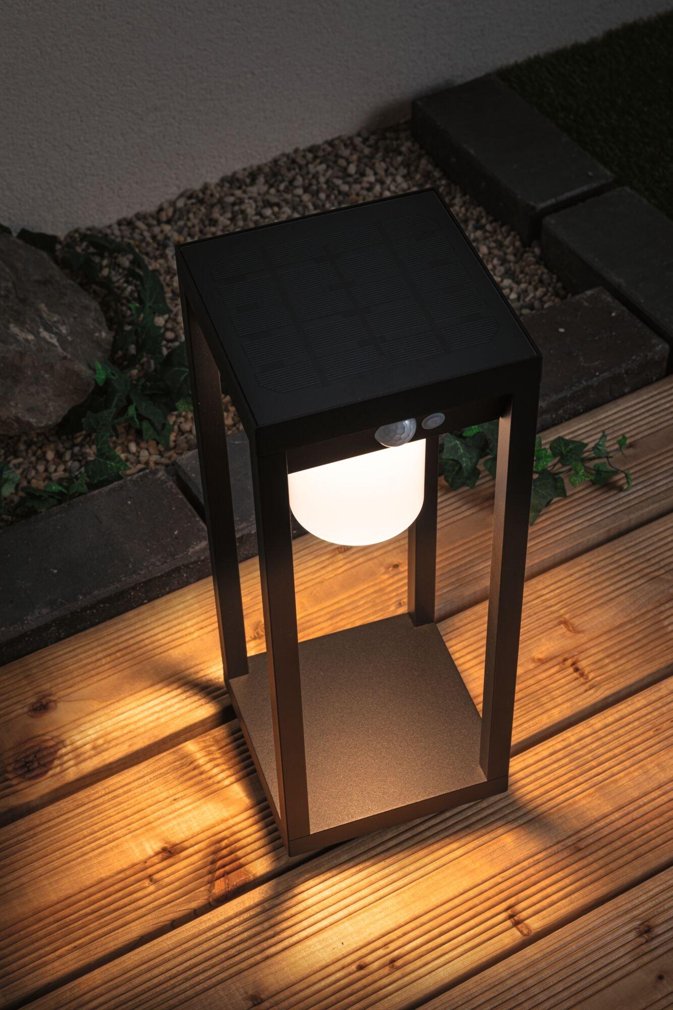 Solar LED Lichtobjekt Solar Marisol Bewegungsmelder IP44 3000K 600lm Schwarz