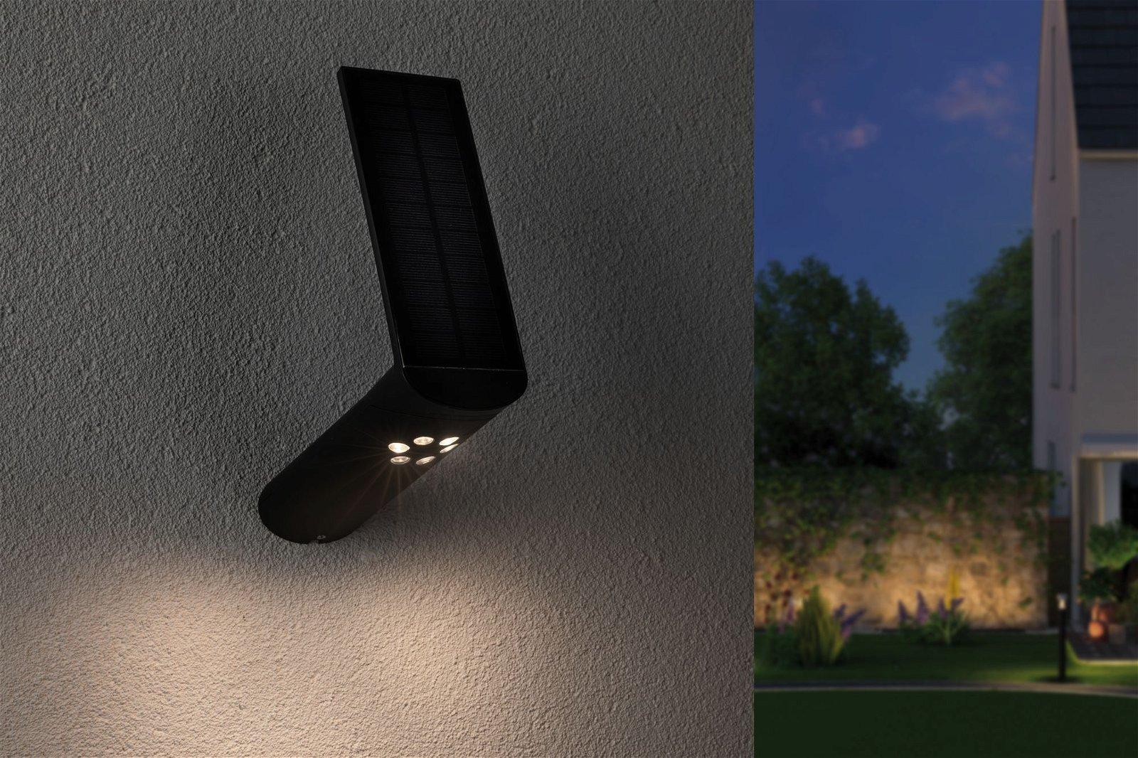 Solar LED Außenwandleuchte Ilias Bewegungsmelder IP44 3000K 115lm Anthrazit