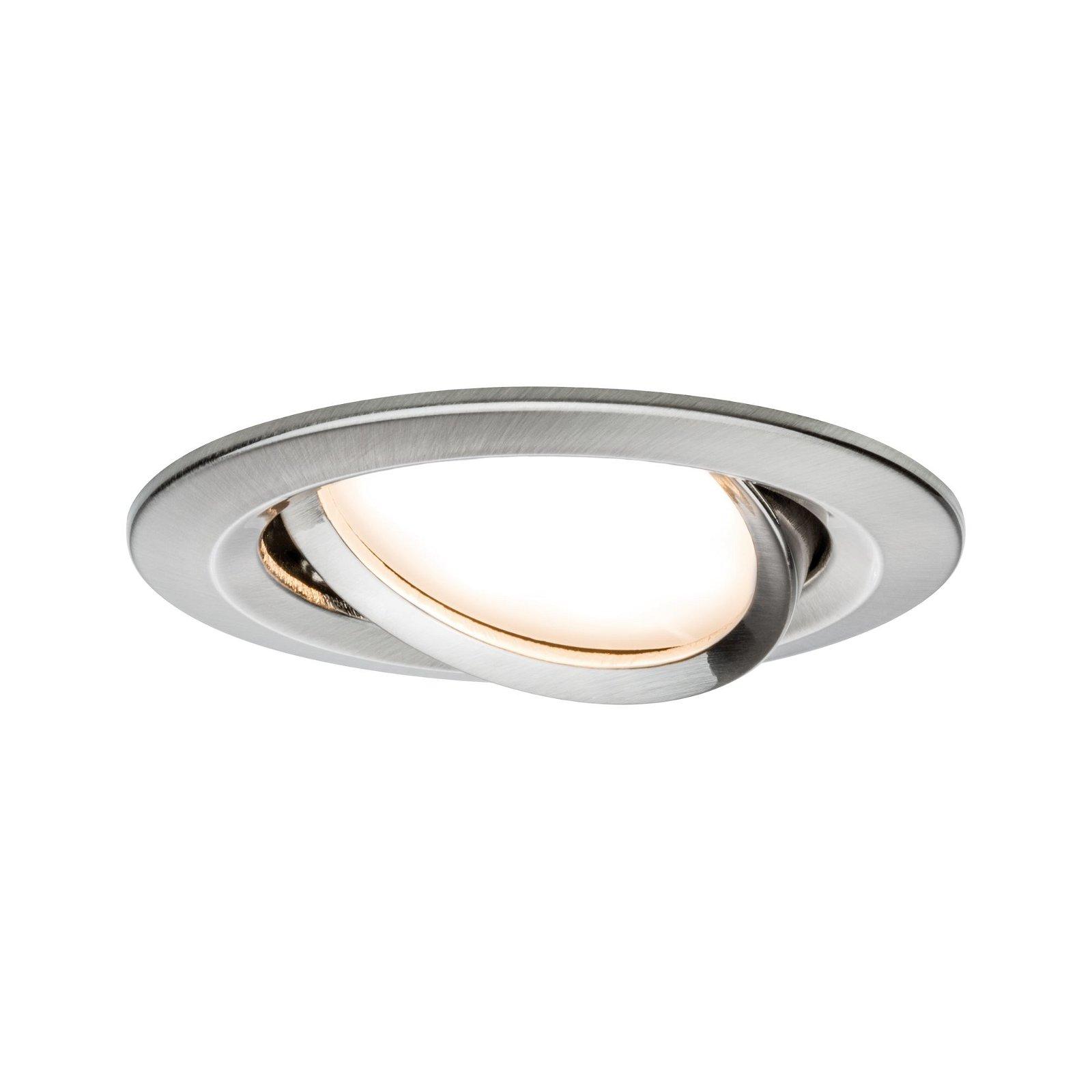 LED-inbouwlamp Nova Plus zwenkbaar rond 84mm 50° Coin 6W 460lm 230V 2700K Staal geborsteld