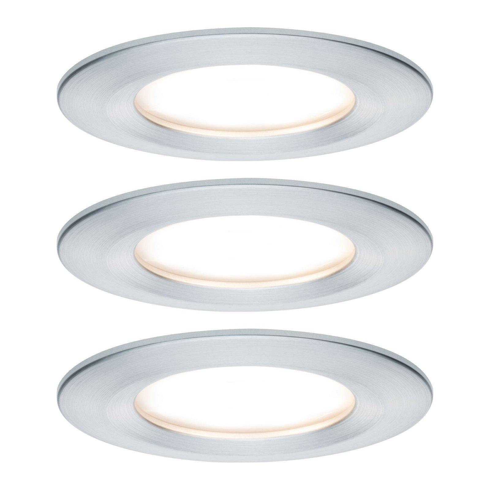 LED Einbauleuchte Nova Plus Coin Basisset starr IP44 rund 78mm Coin 3x6,8W 3x425lm 230V 2700K Alu gedreht