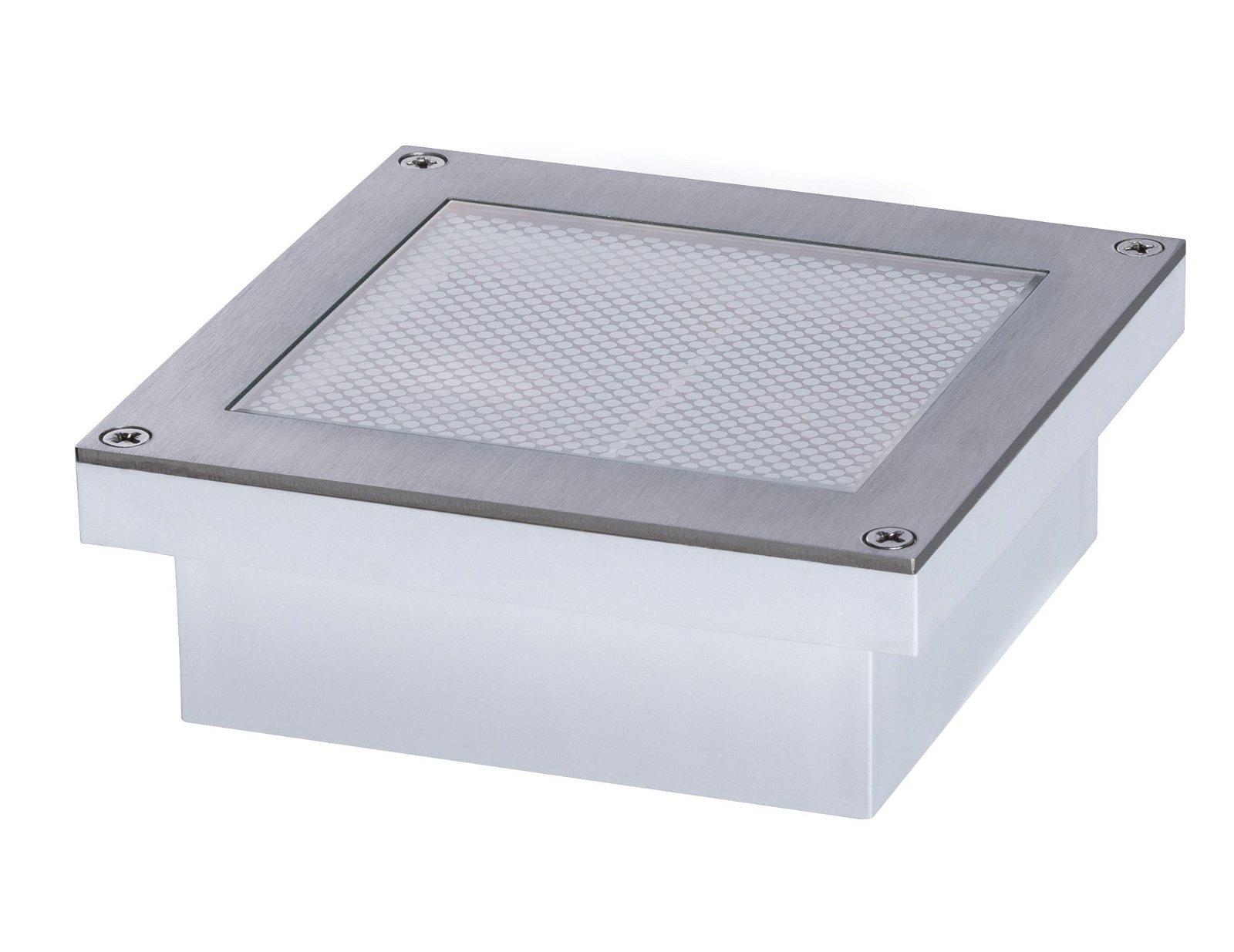 LED Bodeneinbauleuchte Brick Warmweiß IP67 100x100mm 3000K 0,8W 80lm 230V Alu/Grau Metall/Edelstahl