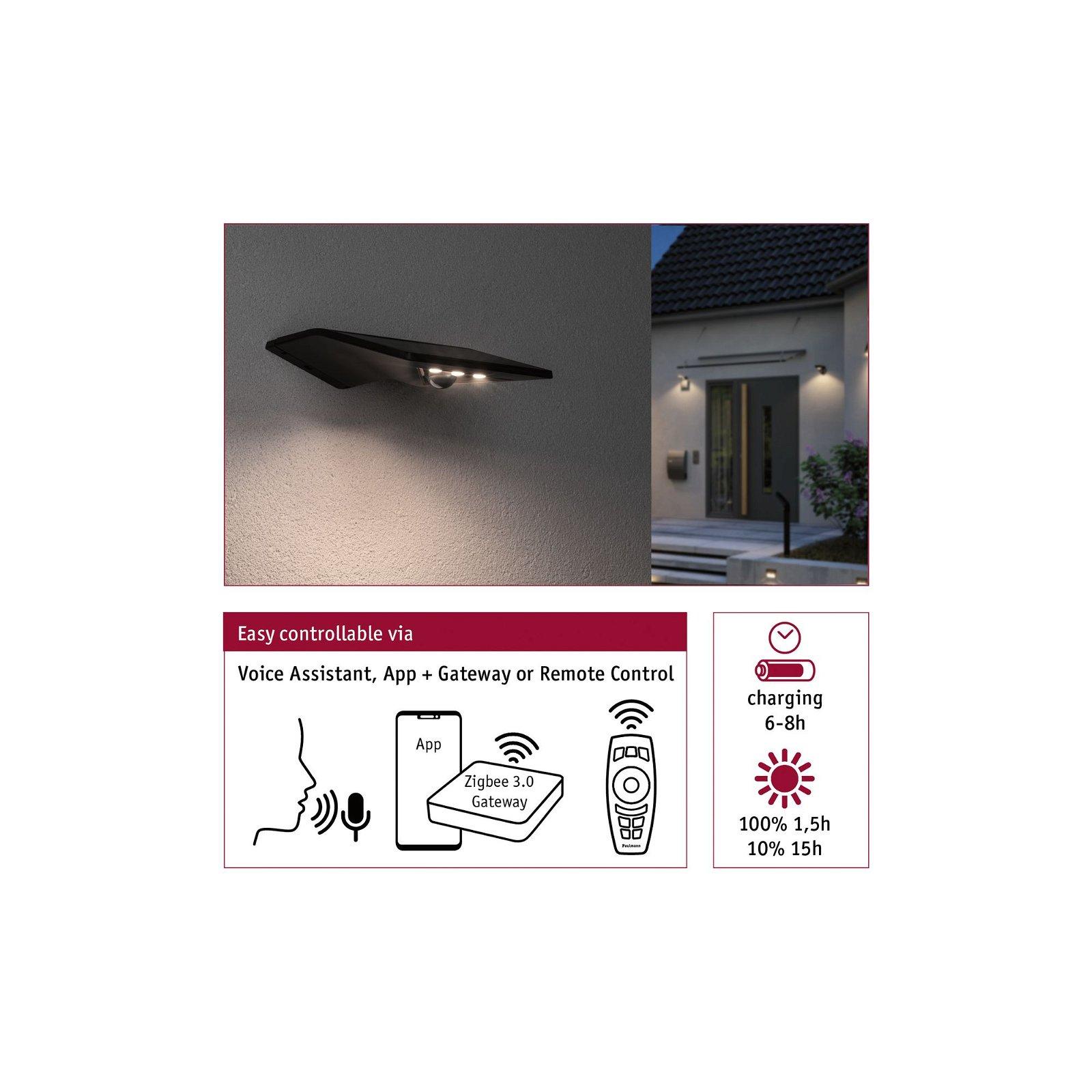 Solar LED Hausnummernleuchte Yoko IP44 3000K 115lm Anthrazit