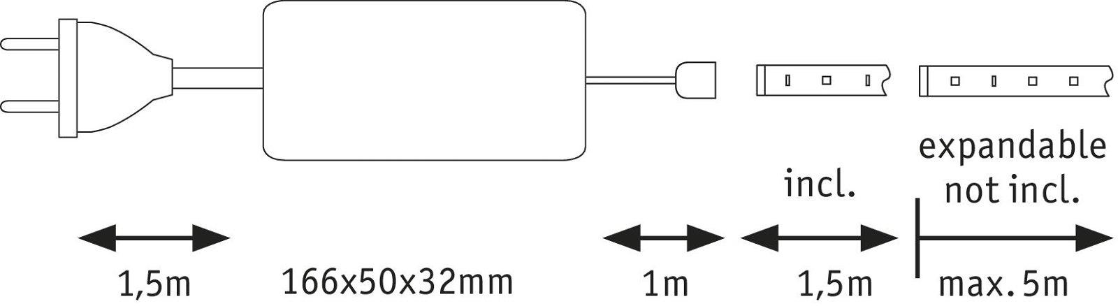 MaxLED 1000 LED Strip Warm wit 1,5m gecoat 18W 1650lm 2700K 36VA