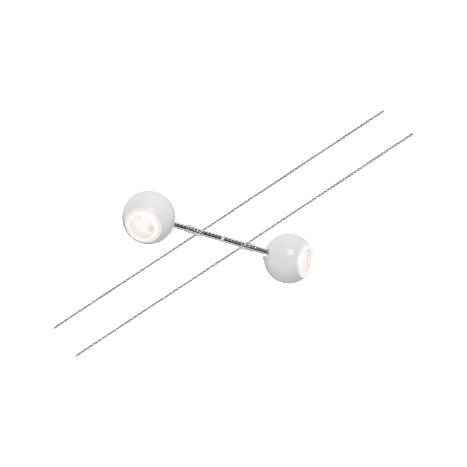 Seilspot 2Line Doppelkopf-Leuchte Dean 2x2,7W Weiß/Chrom 24V DC