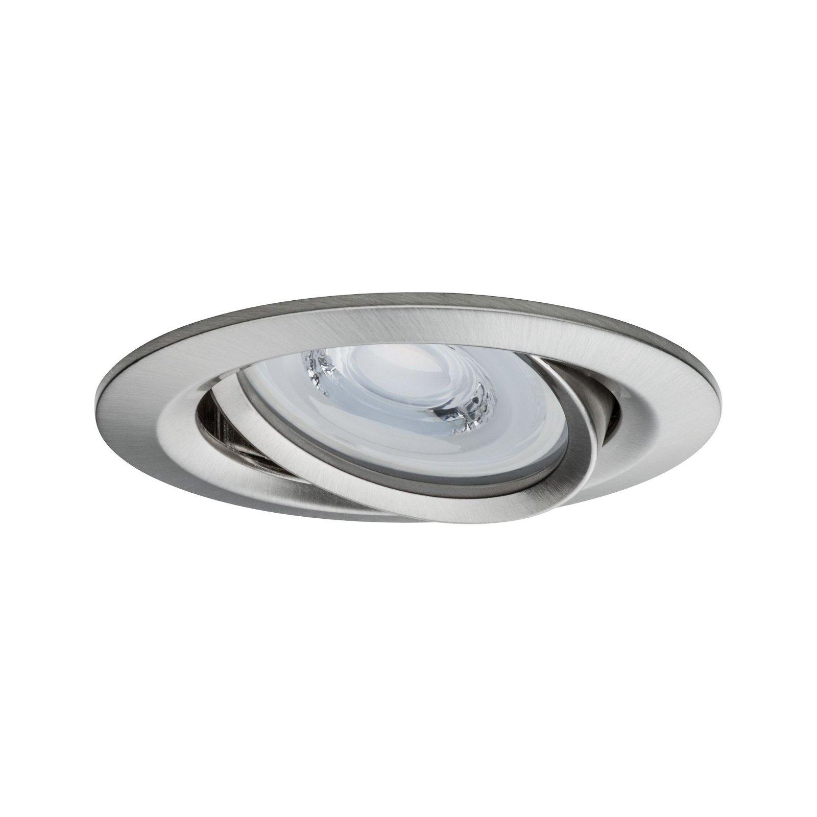 Premium LED Einbauleuchte Coin Basisset schwenkbar rund 84mm 50° Coin 3x6,8W 3x463lm 230V 2700K Eisen gebürstet