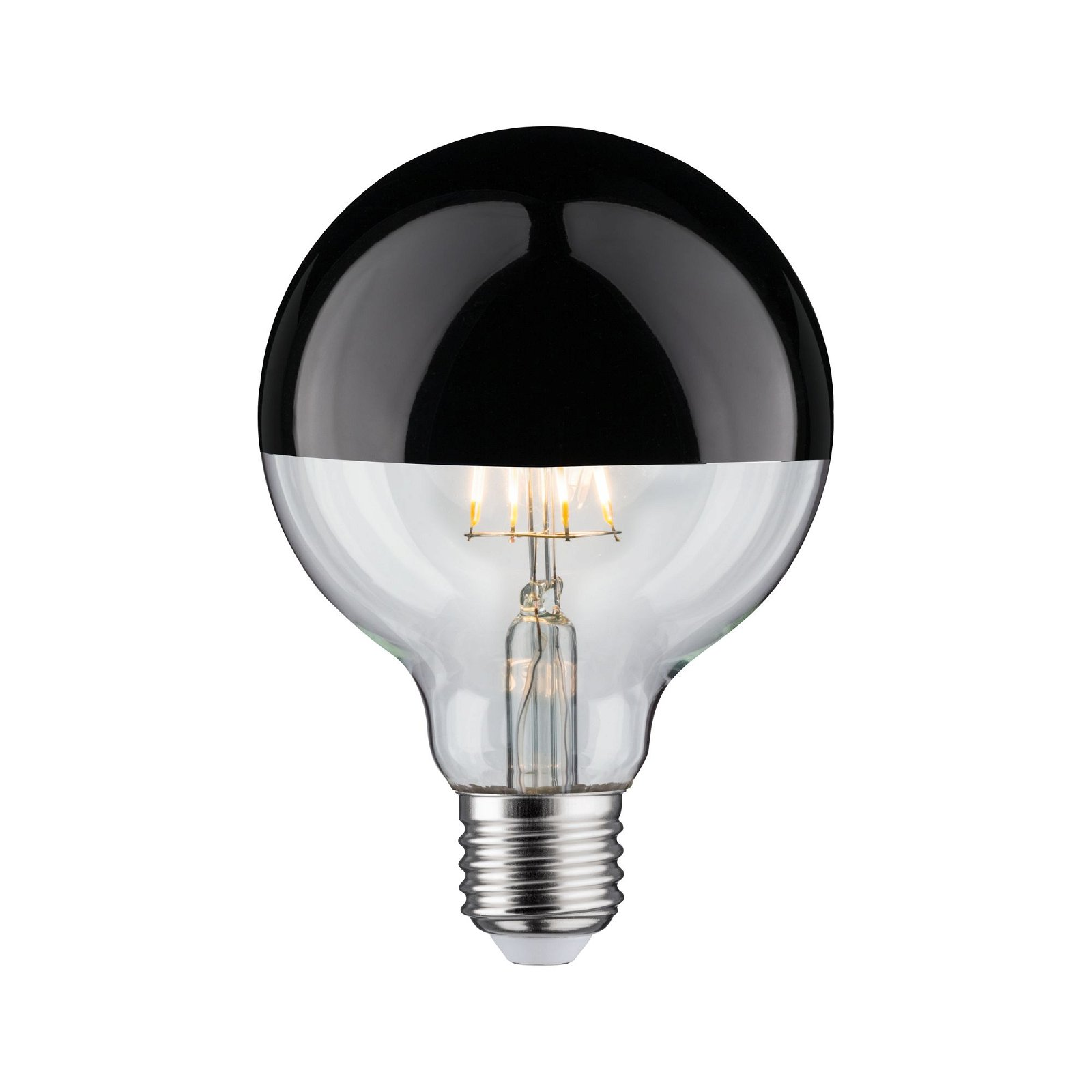 Modern Classic Edition LED Globe Kopfspiegel E27 230V 600lm 6,5W 2700K Kopfspiegel Schwarzchrom