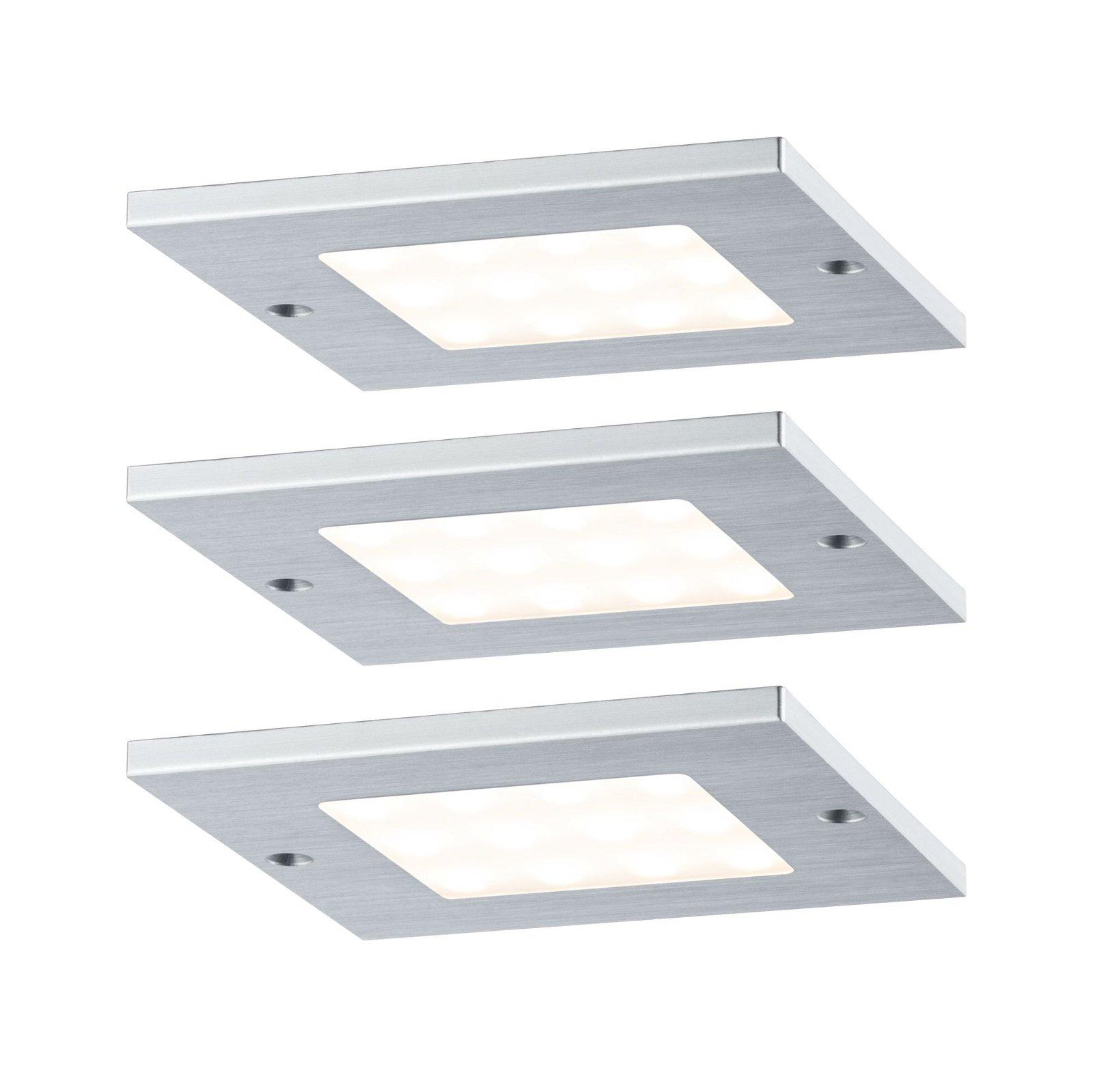 LED-onderkastverlichting Leaf 3x4,7W 80x80mm 3x310lm 230/12V hoekig Alu geborsteld