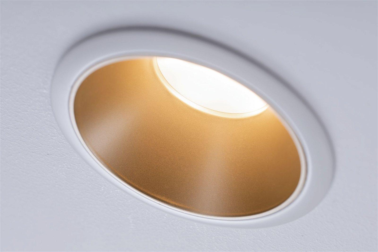 LED Einbauleuchte 3-Step-Dim Cole Coin IP44 rund 88mm Coin 6W 470lm 230V 2700K Weiß/Gold matt