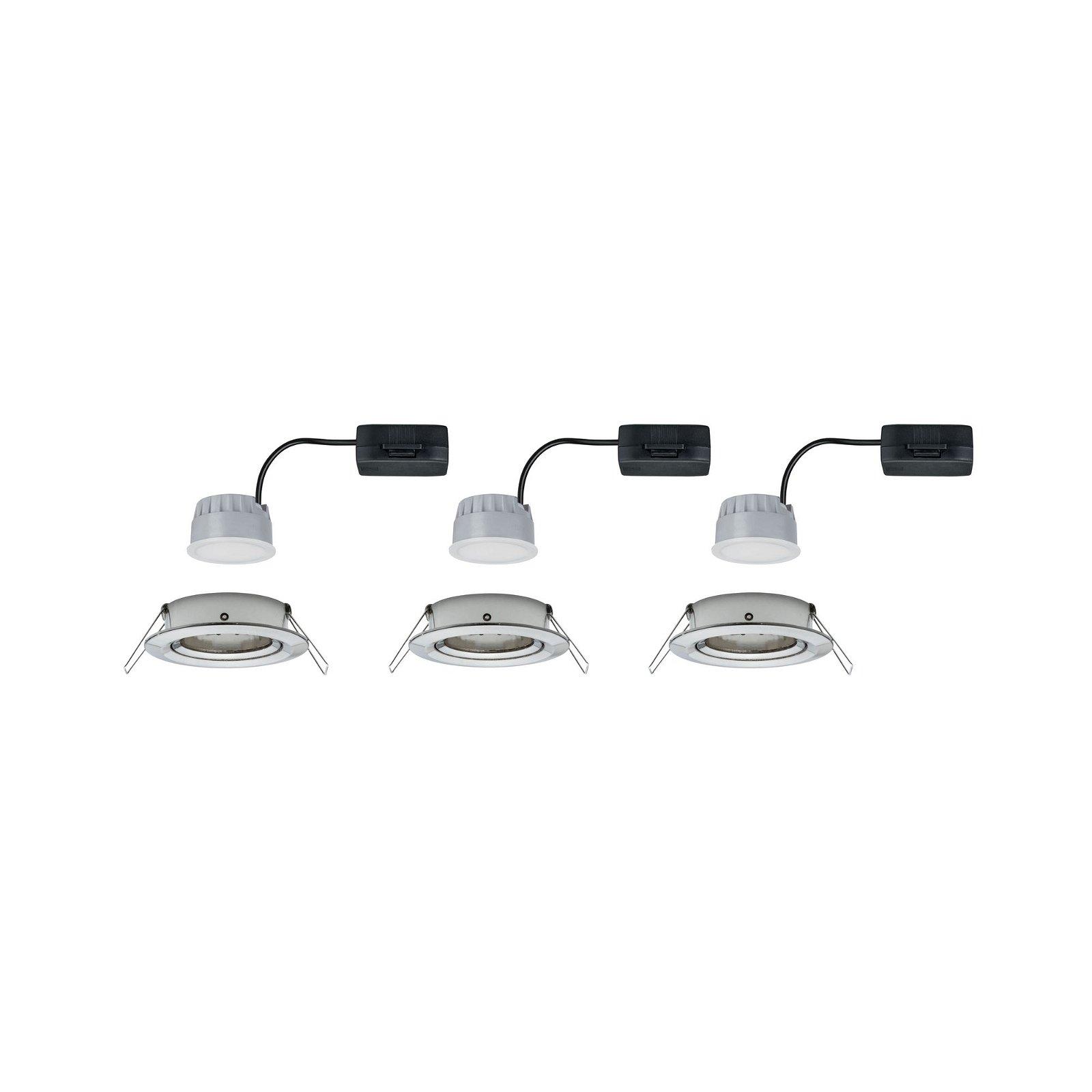 LED Einbauleuchte 3-Step-Dim Nova Coin Basisset schwenkbar rund 84mm 50° Coin 3x6,5W 3x460lm 230V 2700K Eisen gebürstet