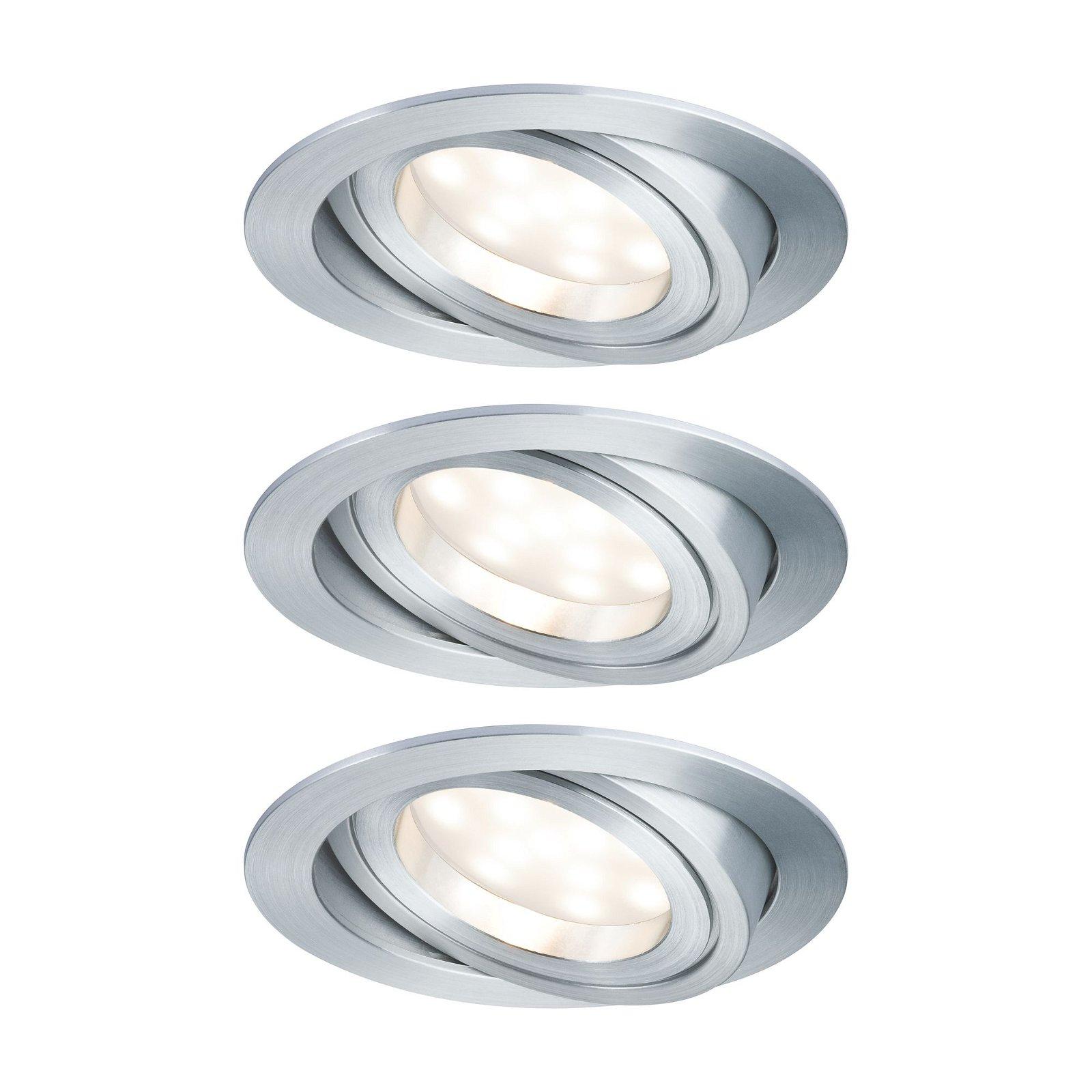 LED Einbauleuchte Warmweiß Basisset schwenkbar rund 90mm 45° Coin 3x7W 3x380lm 230V 2700K Alu gedreht/Satin