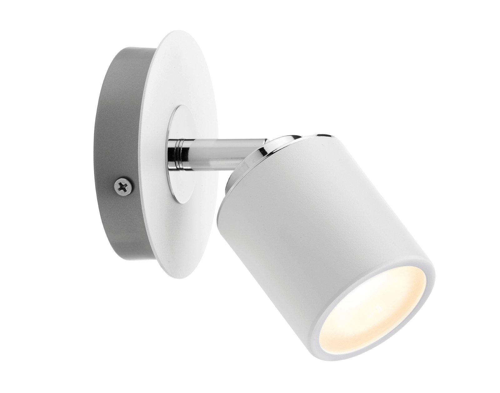 Spot de plafond Tube IP44 GU10 230V max. 10W Blanc/Chrome