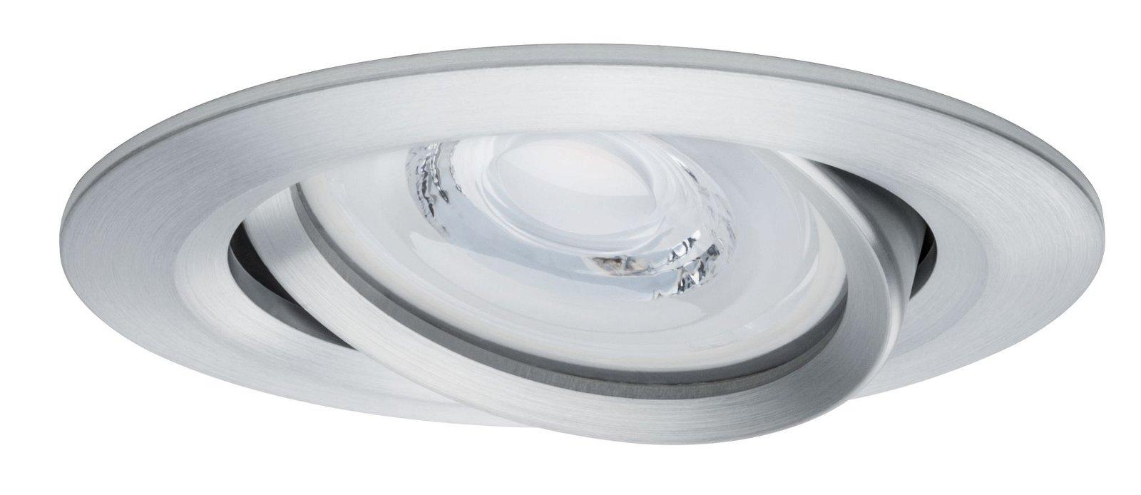 Premium LED Einbauleuchte Coin Basisset schwenkbar rund 84mm 50° Coin 3x6,8W 3x463lm 230V 2700K Alu gedreht