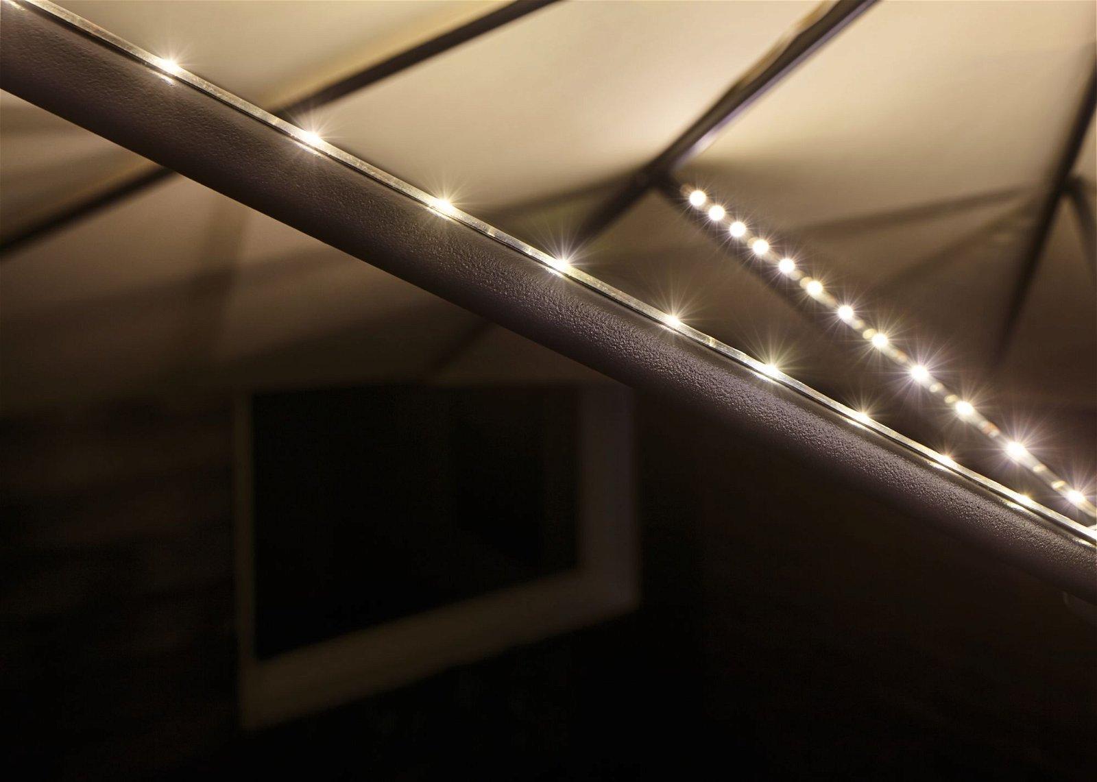 USB LED Stripe Parasol-Light Schirmbeleuchtung Basisset 6m 3000K Schwarz