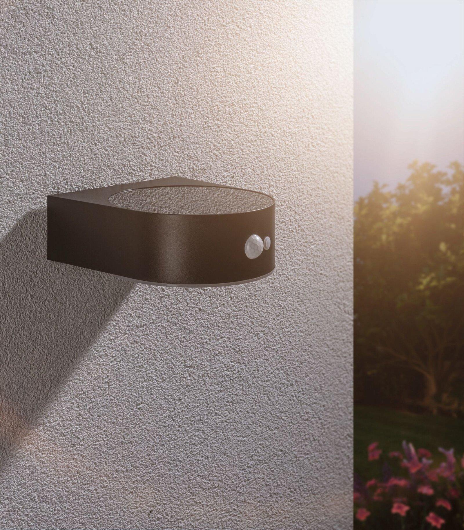 Solar LED Außenwandleuchte Solar Eileen Bewegungsmelder IP44 3000K 600lm Schwarz