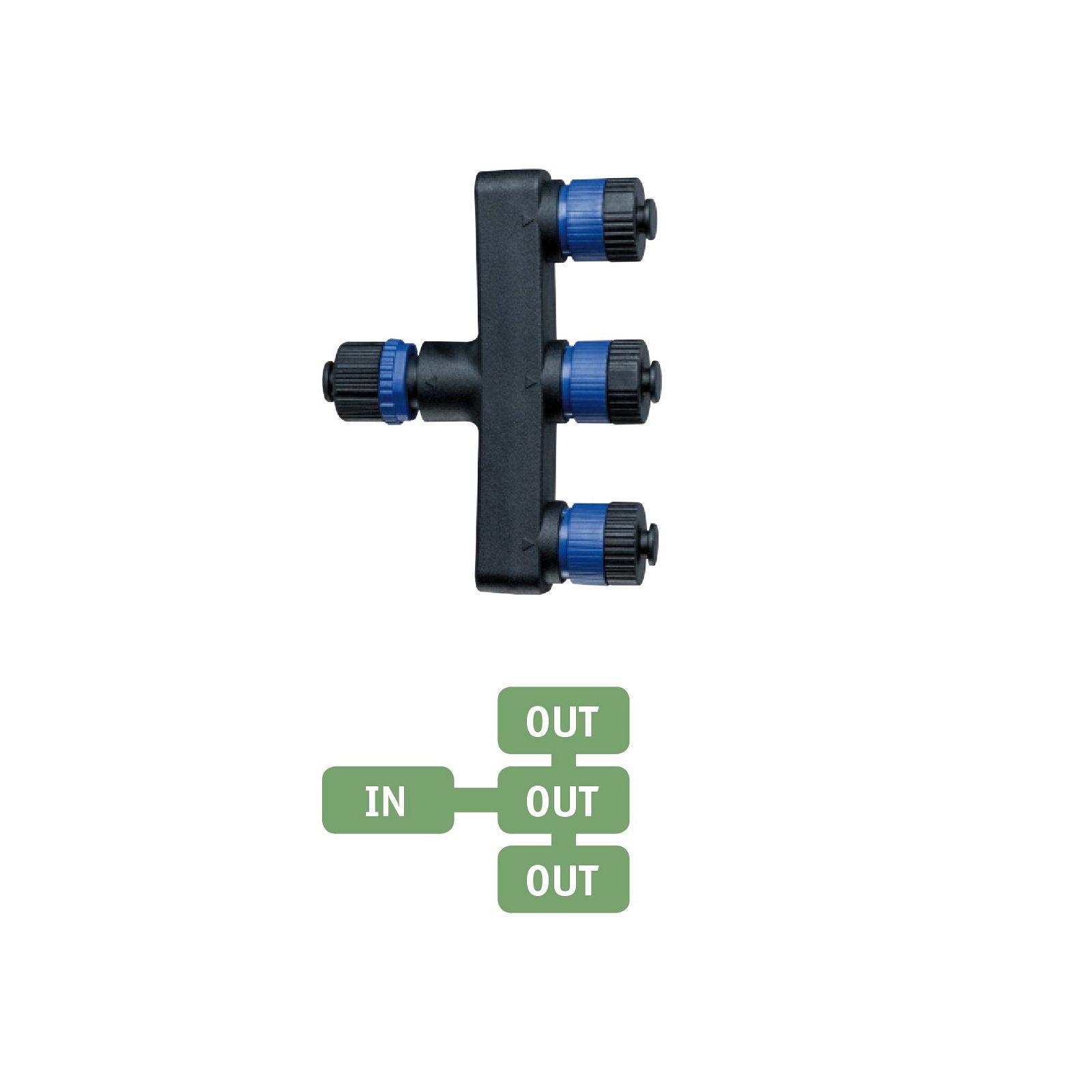Plug & Shine Verteiler 3 Ausgänge IP68 Schwarz