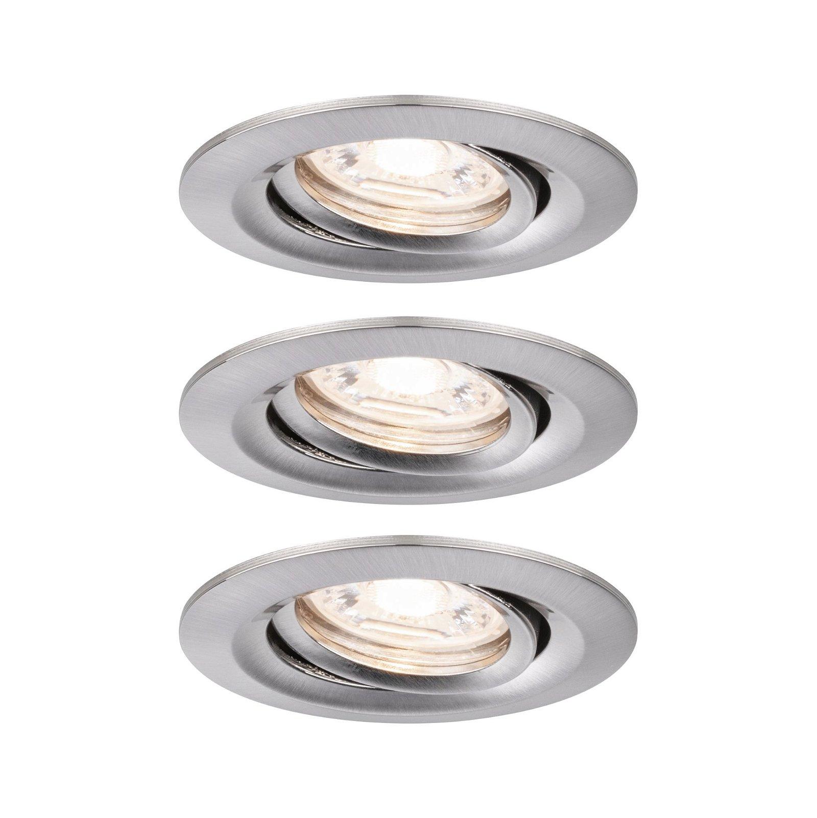LED Einbauleuchte Easy Dim Nova Mini Plus Coin Basisset schwenkbar rund 66mm 15° Coin 3x4,2W 3x300lm 230V 2700K Eisen gebürstet