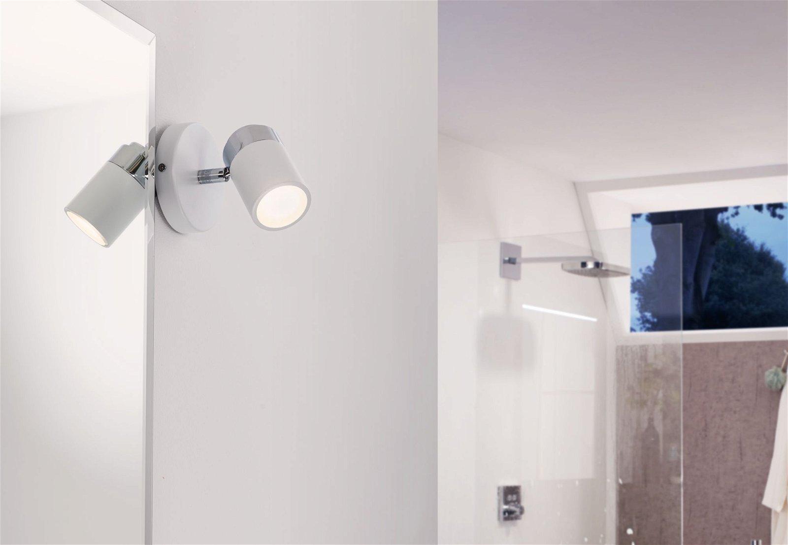 Ceiling spotlights Zyli IP44 GU10 230V max. 10W White/Chrome