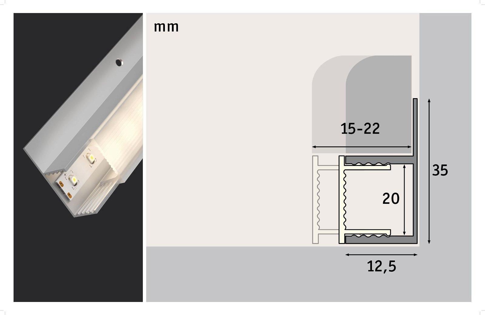 LED Strip Einbauprofil Socle Weißer Diffusor 2m Alu eloxiert/Satin