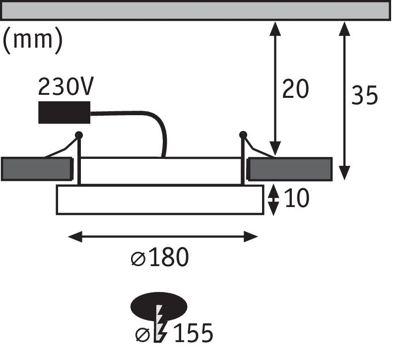 LED Einbaupanel Areo rund 180mm 1350lm 3000K Nickel matt