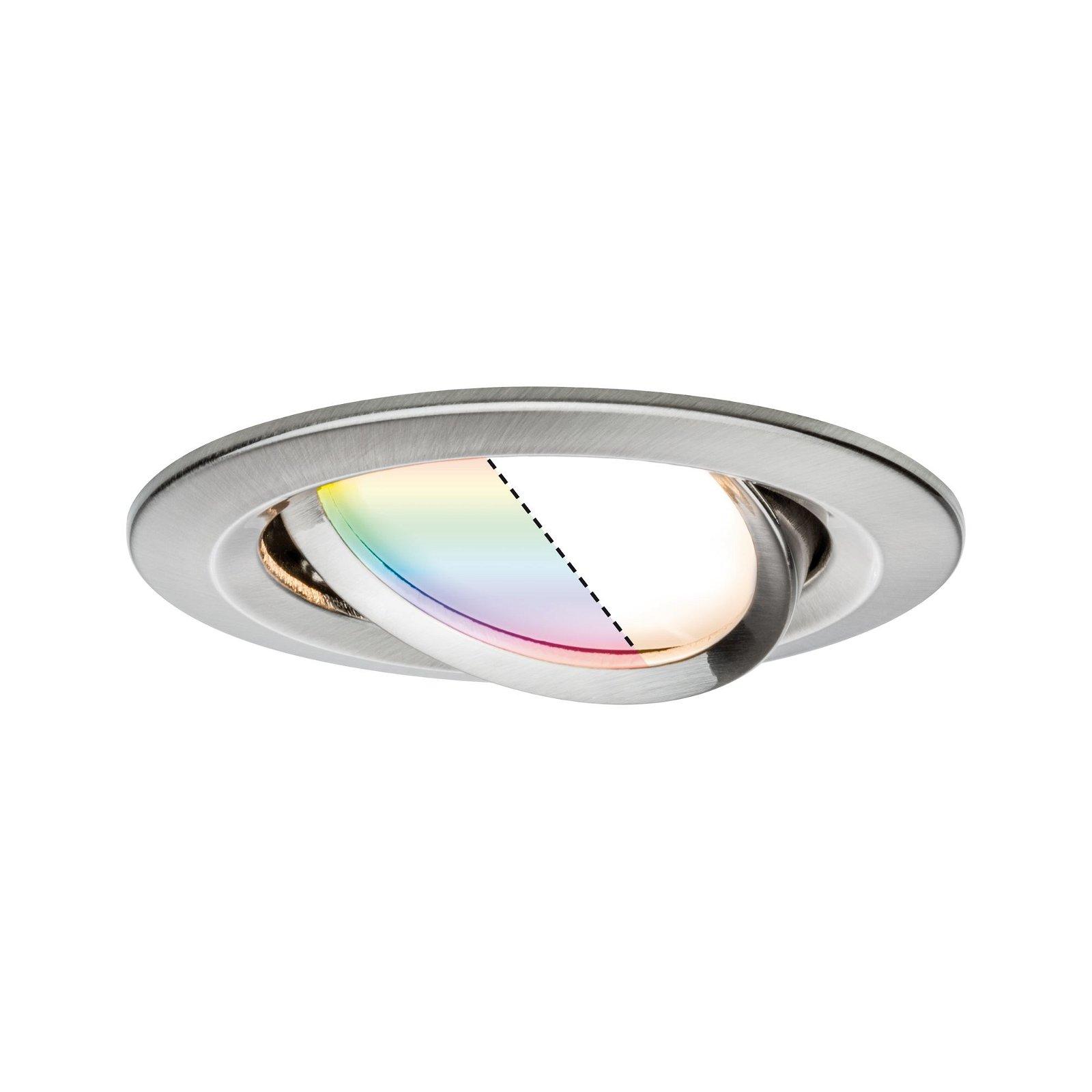 LED Einbauleuchte Smart Home Zigbee Nova Plus Coin schwenkbar rund 84mm 50° Coin 5,2W 400lm 230V RGBW Eisen gebürstet