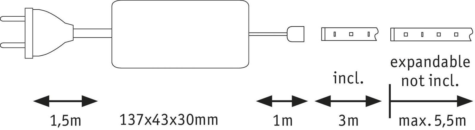 MaxLED 500 LED Strip Warmweiß 3m beschichtet 18W 1650lm 2700K 36VA