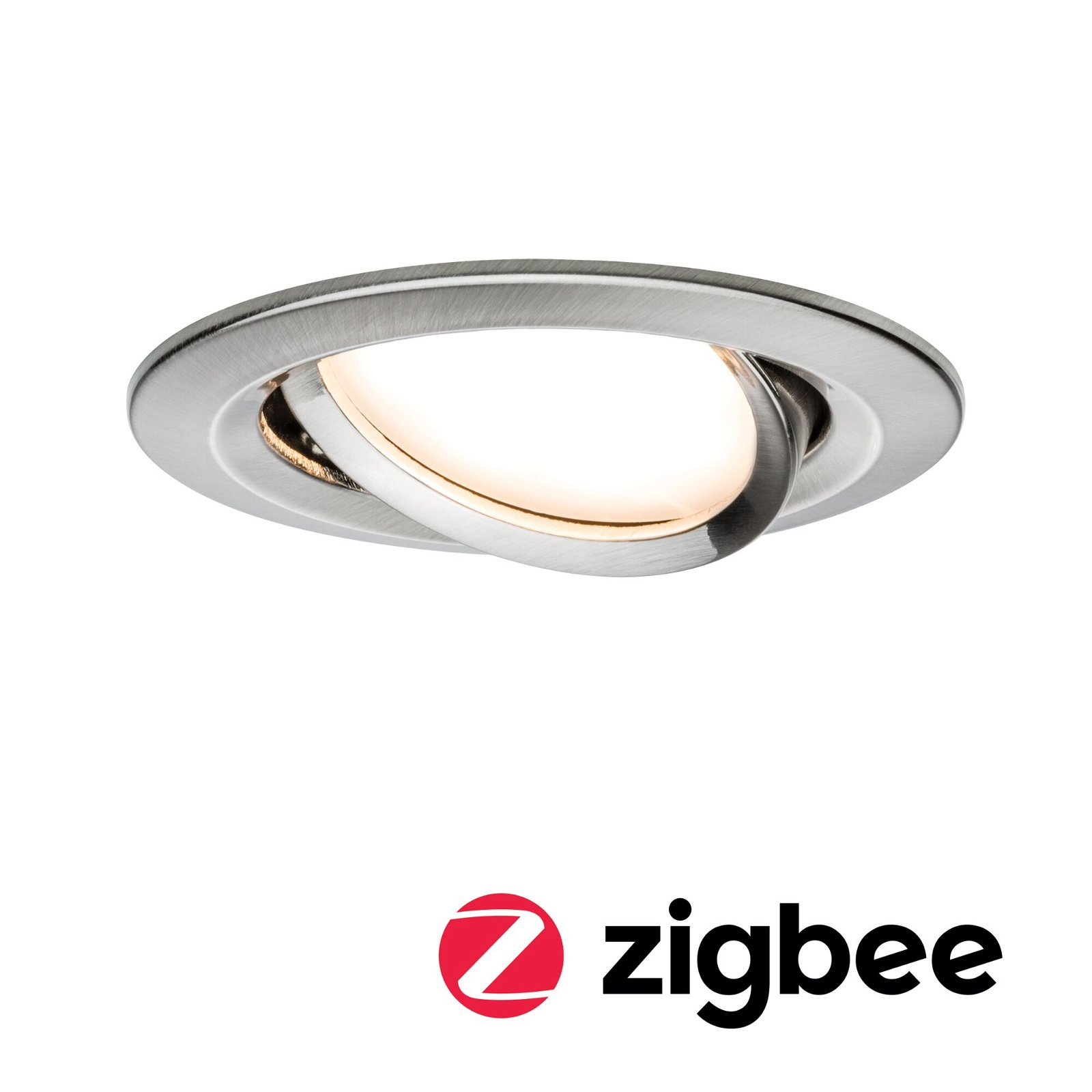 LED Einbauleuchte Smart Home Zigbee Nova Plus Coin schwenkbar rund 84mm 50° Coin 6W 460lm 230V 2700K Eisen gebürstet