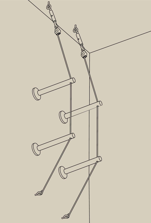 Seilsystem Montageset Halterung + Umlenker 4er-Pack Chrom