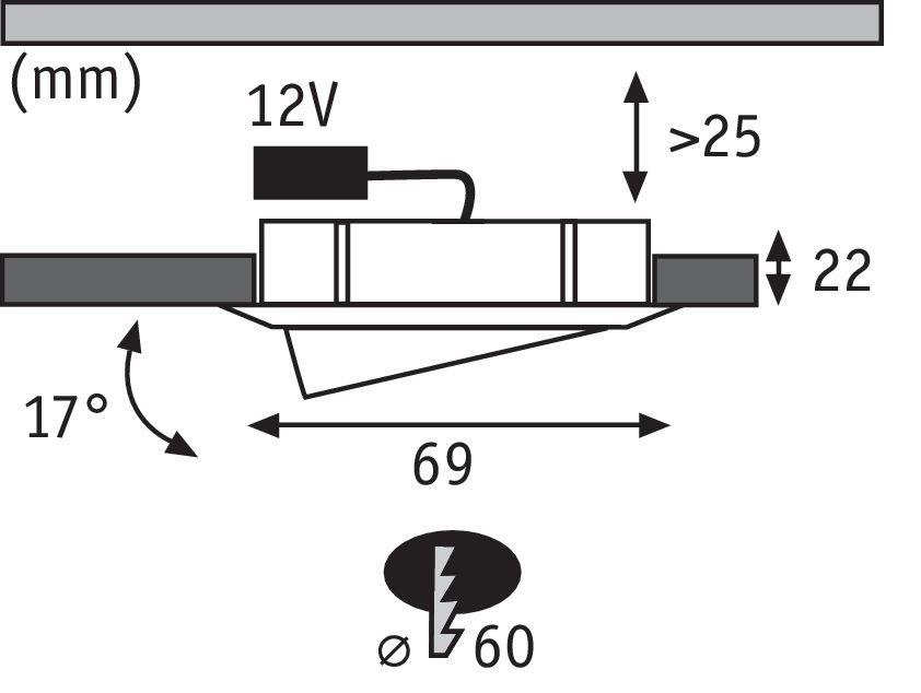 Meubelinbouwlampen Micro Line Swivel zwenkbaar rond 69mm max. 20W 12V Staal geborsteld