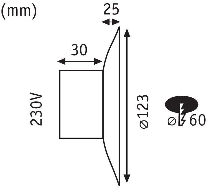 LED Wandeinbauleuchte Neordic Dekorativ rund 123mm 2,5W 180lm 230V 2700K Marmor/Weiß matt