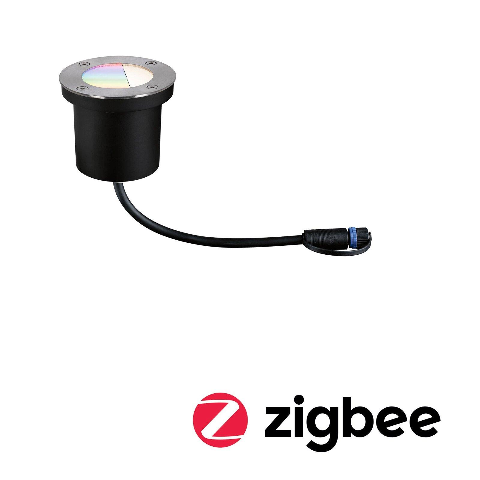 Plug & Shine LED Bodeneinbauleuchte Smart Home Zigbee RGBW Einzelspot IP65 RGBW 3,6W Silber