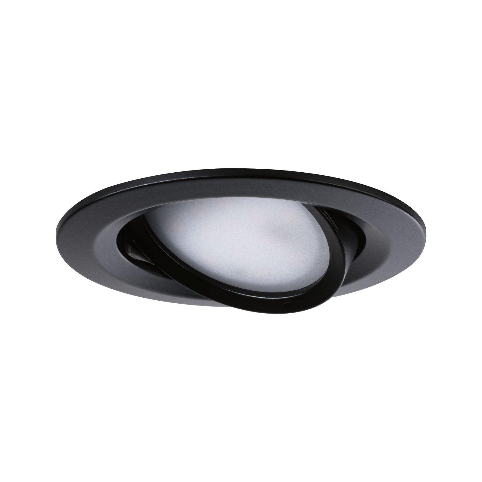 LED Einbauleuchte Nova Coin Basisset schwenkbar rund 84mm 50° Coin 3x6,5W 3x460lm 230V 2700K Schwarz matt
